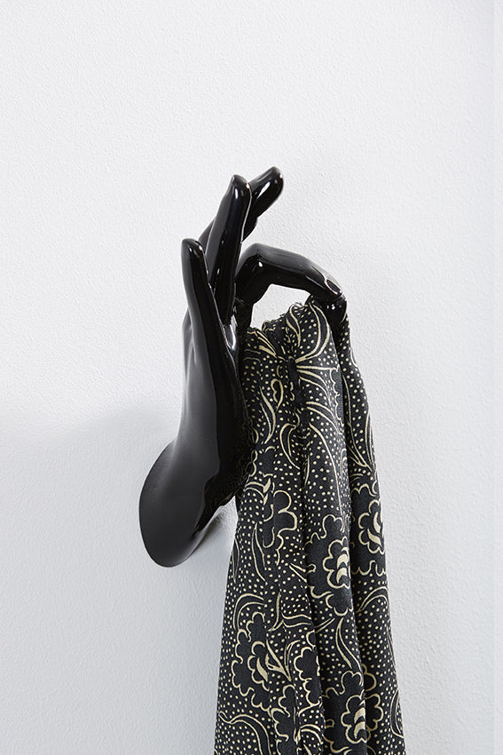 Hand wall art or hook, OK gesture, black colour, and hanging scarf