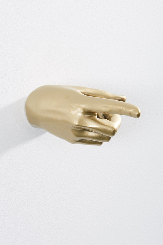 Hand wall art or hook, pointing gesture, and gold colour