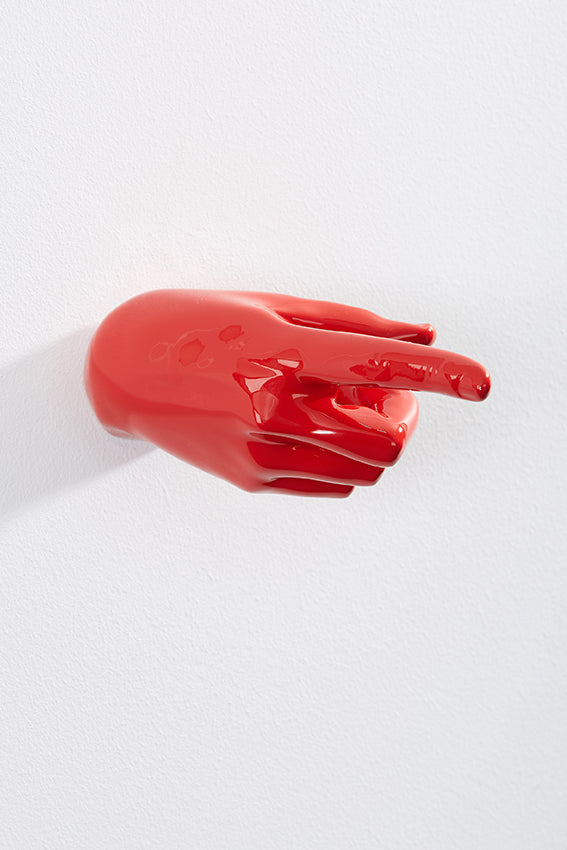Hand wall art or hook, pointing gesture, and red colour