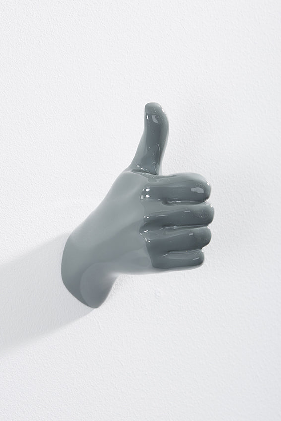 Hand wall art or hook, shape of thumbs up gesture, and grey colour
