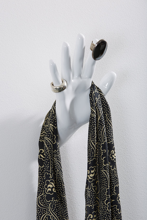 Hand wall art or hook, waving gesture, white colour, and hanging scarf