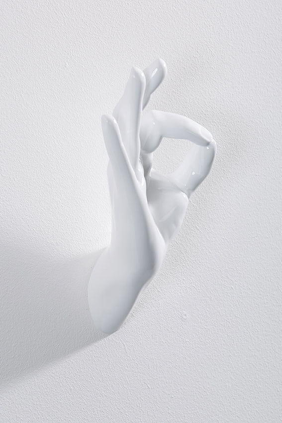 Hand wall art or hook, OK gesture, and white colour