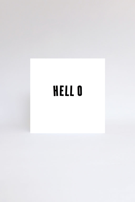 Hello, greetings card, black letterpress