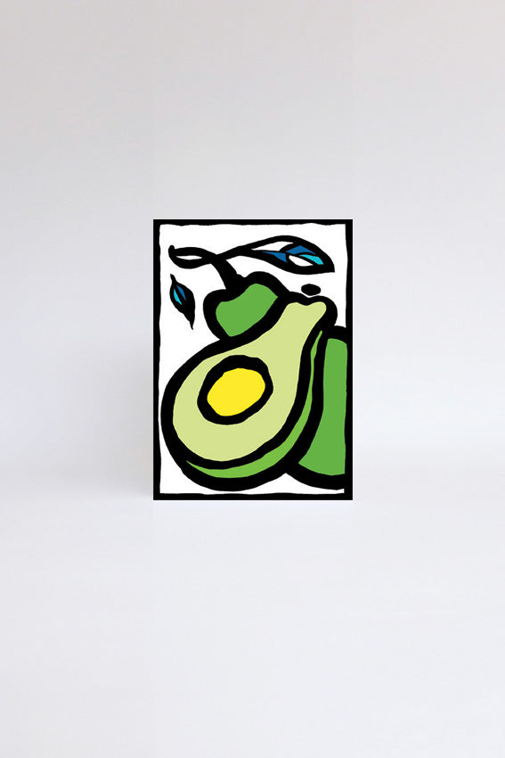 Two green avocados,  greetings card, ink drawing