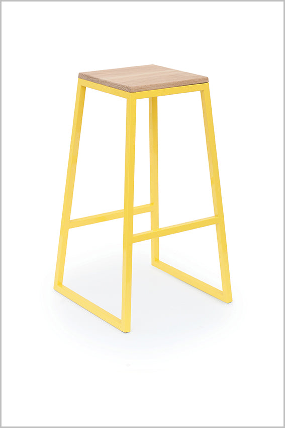 Metal bar stool, yellow, square oak seat pan