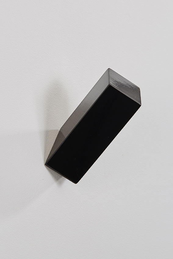 Metal hook and coat hook, rectangular shape, and black colour