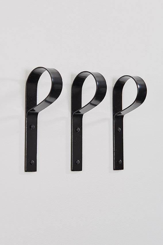 Metal coat hook, crook hook shaped, three, and black colour