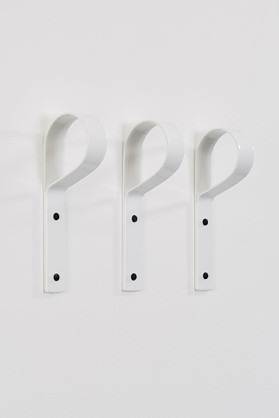 Metal coat hook, crook hook shaped, three, and white colour