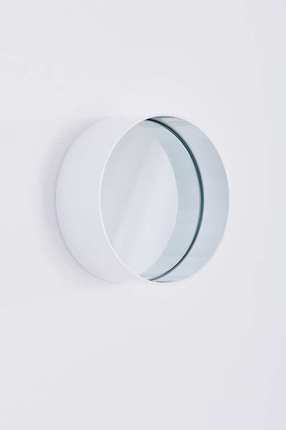 Mirror, round, metal frame, small, and grey colour