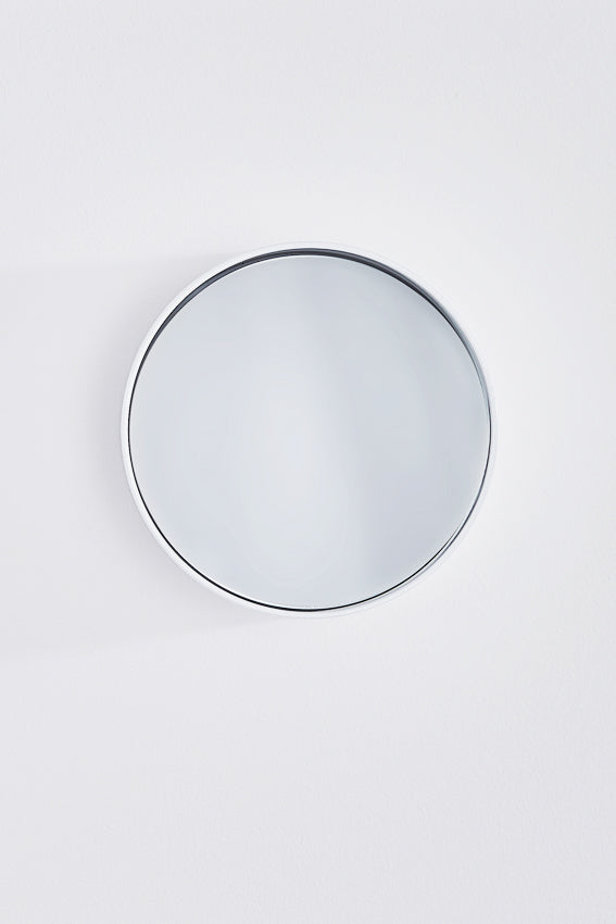 Mirror, round, metal frame, small, and white colour