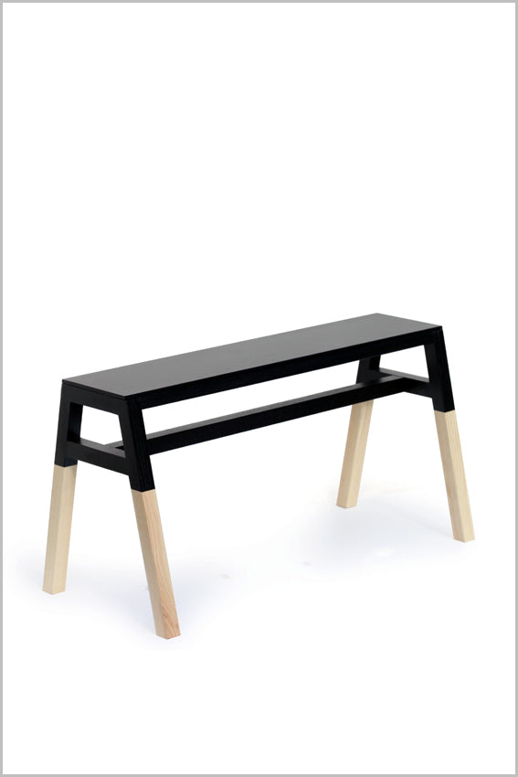 Oak, saddle bench, black, two tone, four legs