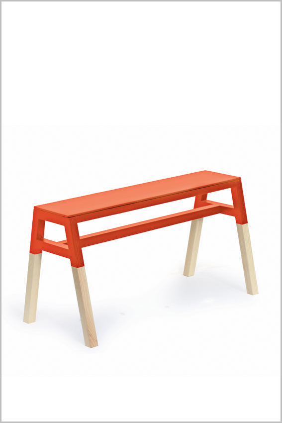Oak, saddle bench, orange, two tone, four legs