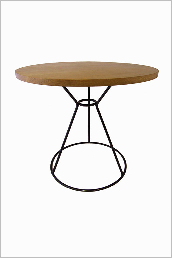 Oak top, round side table, black metal frame base
