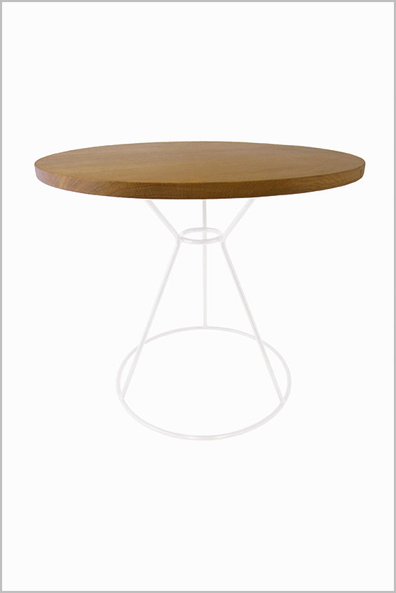 Oak top, round side table, white metal frame base