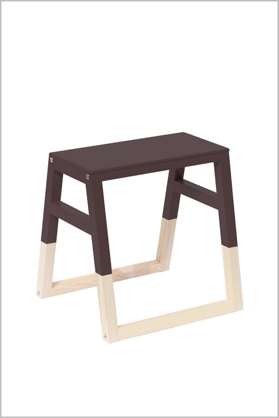 Oak, saddle stool, black, two tone with sleigh legs