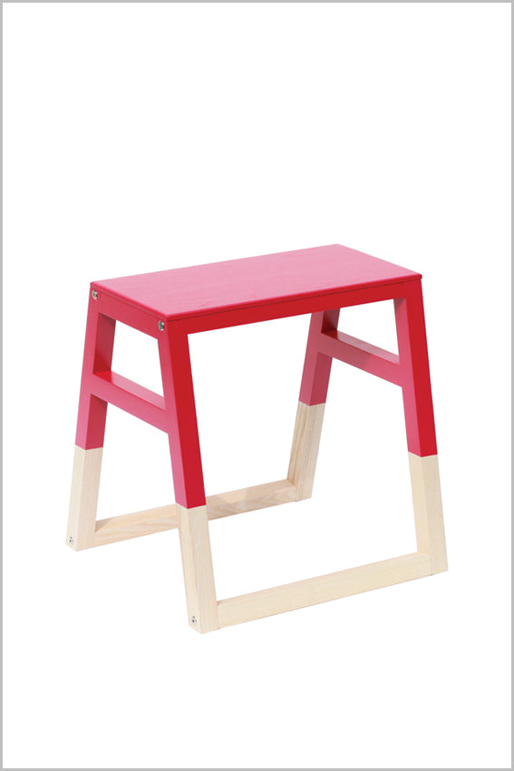 Oak, saddle stool, pink, two tone with sleigh legs