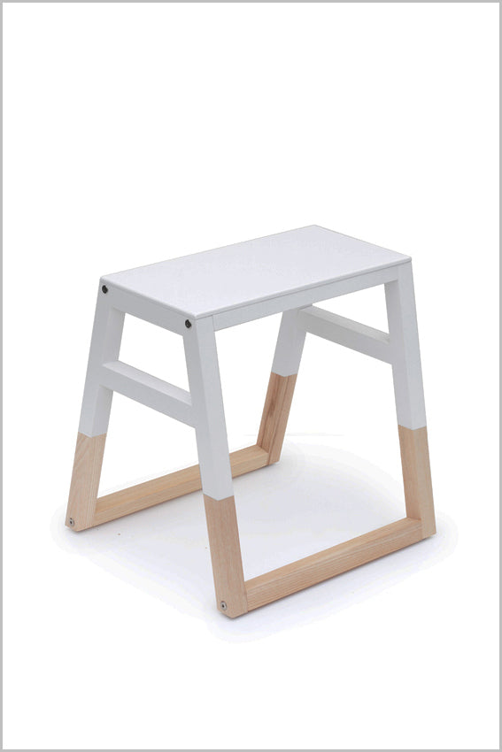 Oak, saddle stool, white, two tone with sleigh legs