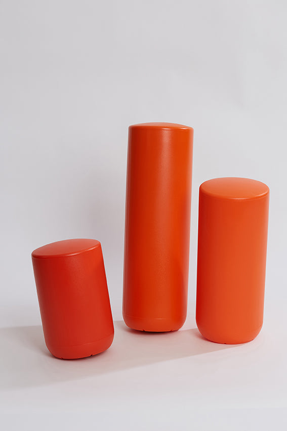 Plastic stool, perch, tubular, group, and orange colour