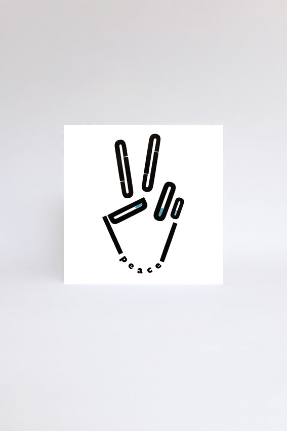 Peace hand, greetings card, black letterpress print