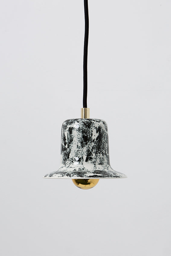 Pendant light, porcelain lamp, bell shape, black speckles