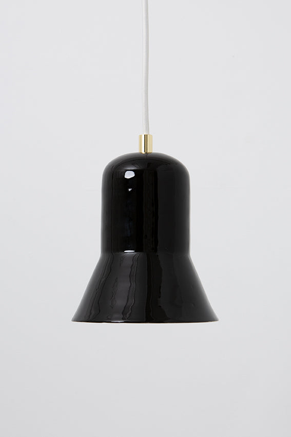 Pendant light, porcelain lamp, bell shape, black