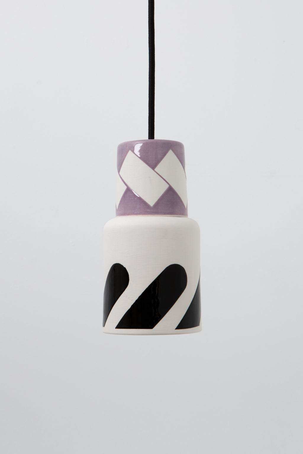 Pendant light, porcelain lamp, lilac, black graphic