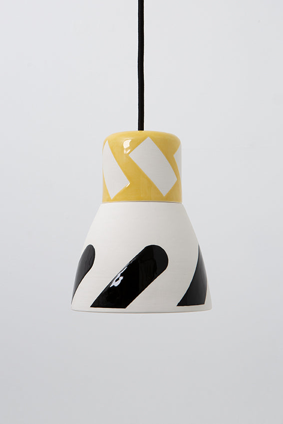Pendant light, porcelain lamp, white black graphic, yellow top