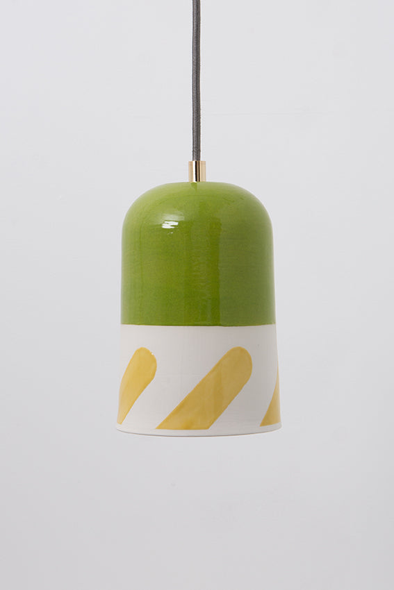 Pendant light, porcelain lamp, domed, green, yellow graphic