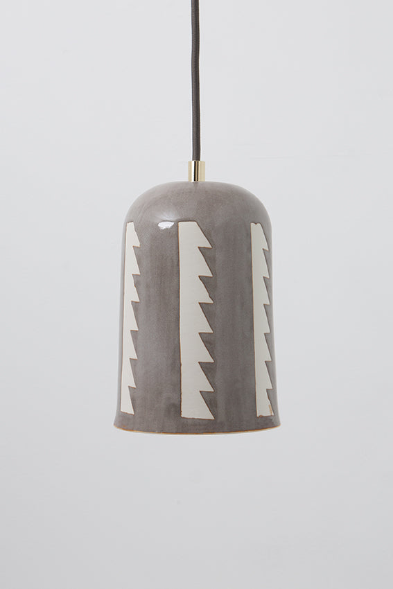 Pendant light, porcelain lamp, domed, gray zig zag