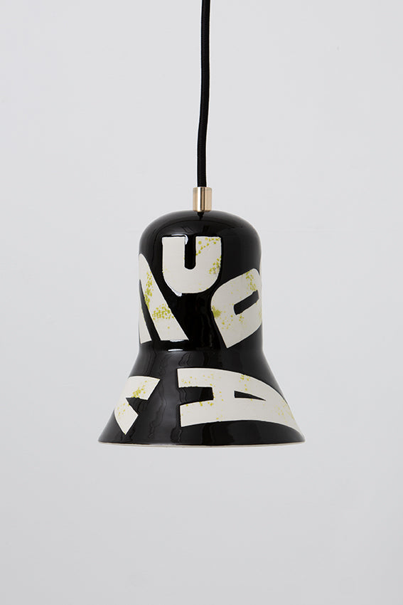 Pendant light, porcelain lamp, shade, black, white letters