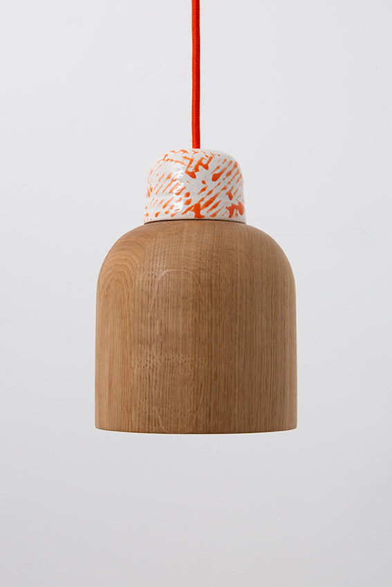 Oak, pendant light, lamp, ceramic top, orange cable