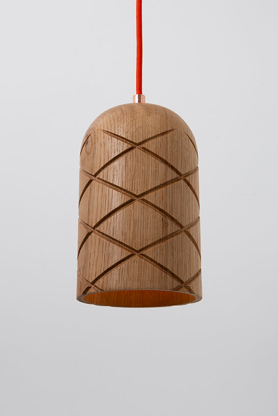 Oak, pendant light, lamp, quilted pattern, orange cable