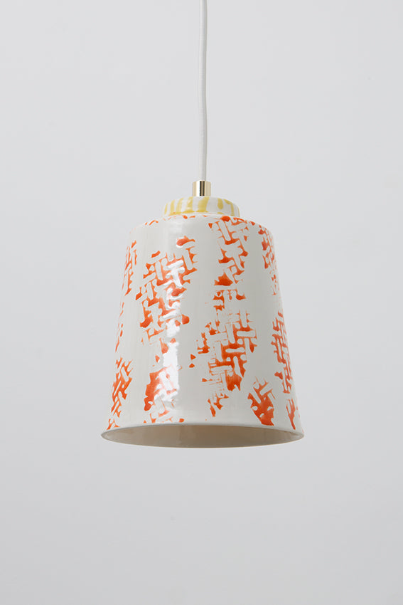 Pendant light, porcelain lamp, shade, decorated, white, orange