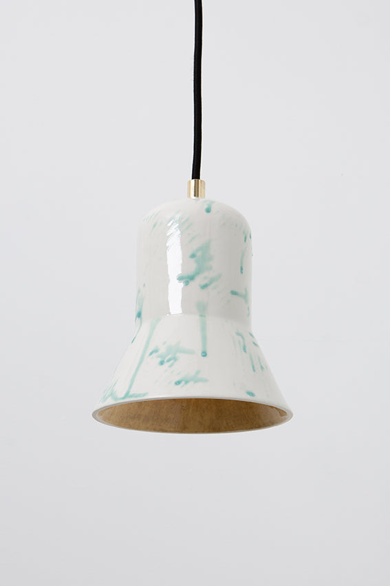 Pendant light, porcelain lamp, shade, white, blue drips