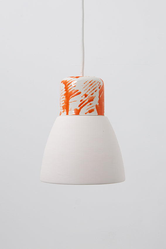Pendant light, porcelain lamp, white skirt, orange drizzle top