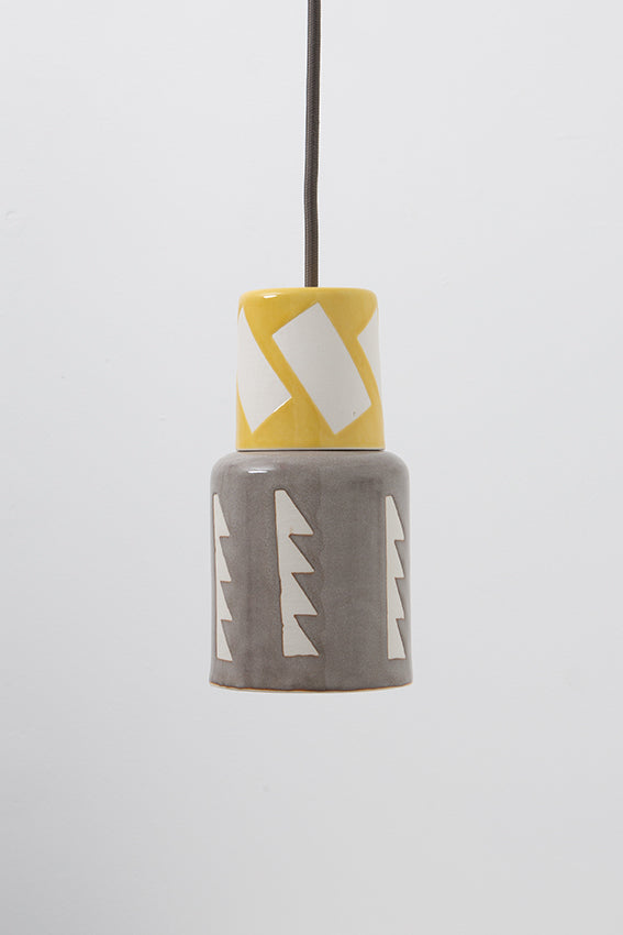 Pendant light, porcelain lamp, gray, yellow decorated