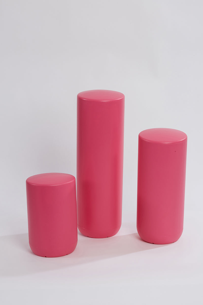 Plastic stool, perch, tubular, group, and pink colour