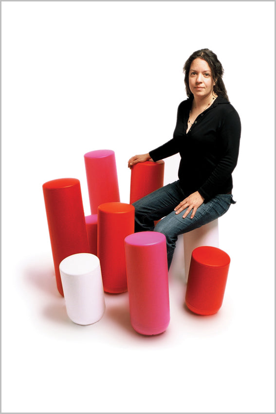 Plastic stools, perches, coloured, tubular, person sitting