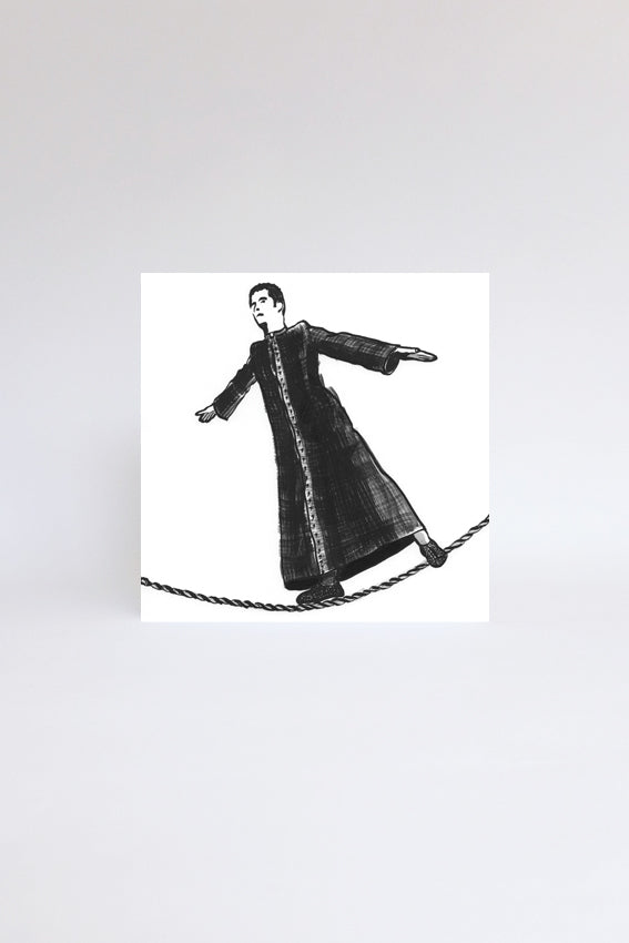 Priest tight rope walking, greetings card, black drawing