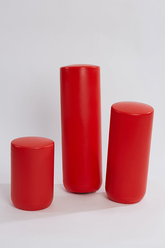Plastic stool, perch, tubular, group, and red colour
