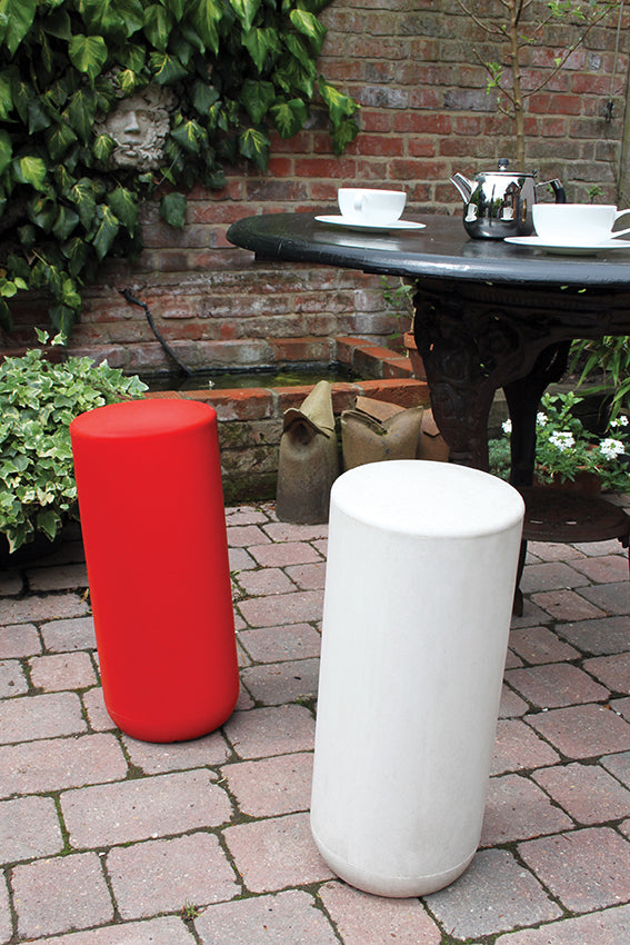 Plastic stools, perch, tubular, white, red, garden patio and table