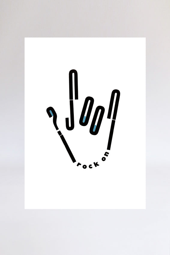 Rock on hand, print, letters, black, letterpress