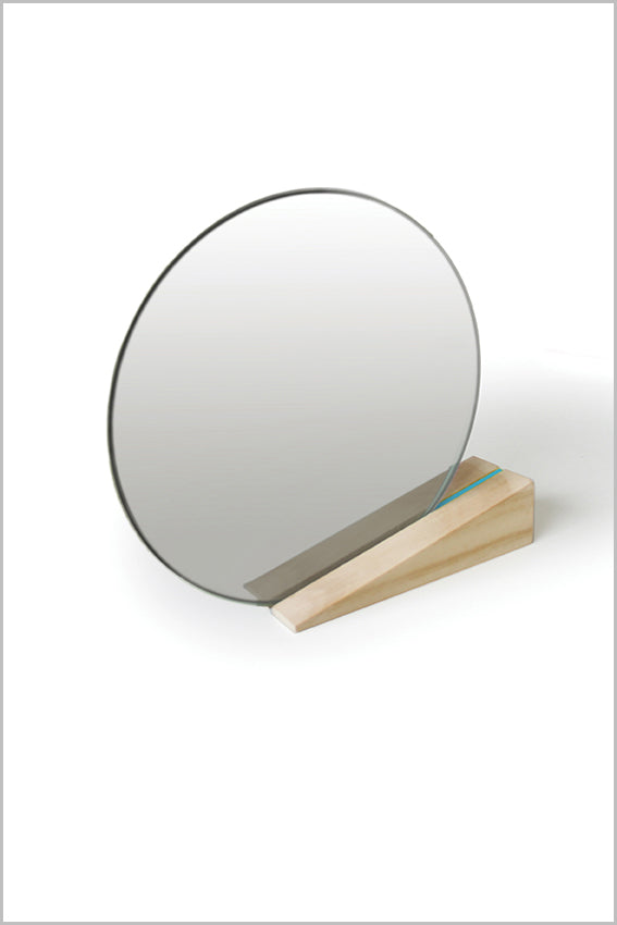 Round desk mirror, oak stand, wedge, blue stripe