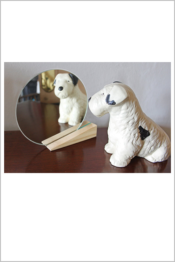 Round desk mirror, oak stand, wedge, dog statue