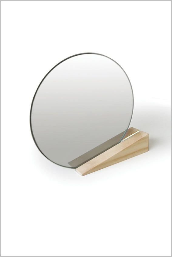Round desk mirror, oak stand, wedge, white stripe
