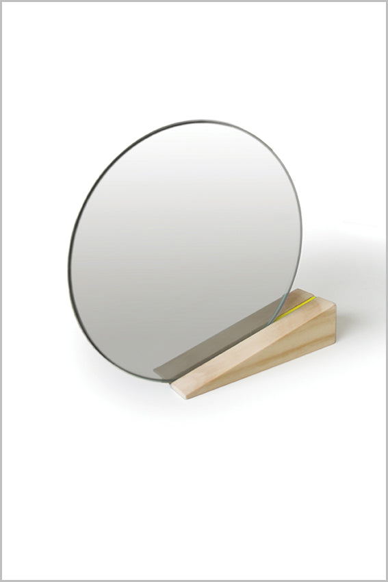 Round desk mirror, oak stand, wedge, yellow stripe