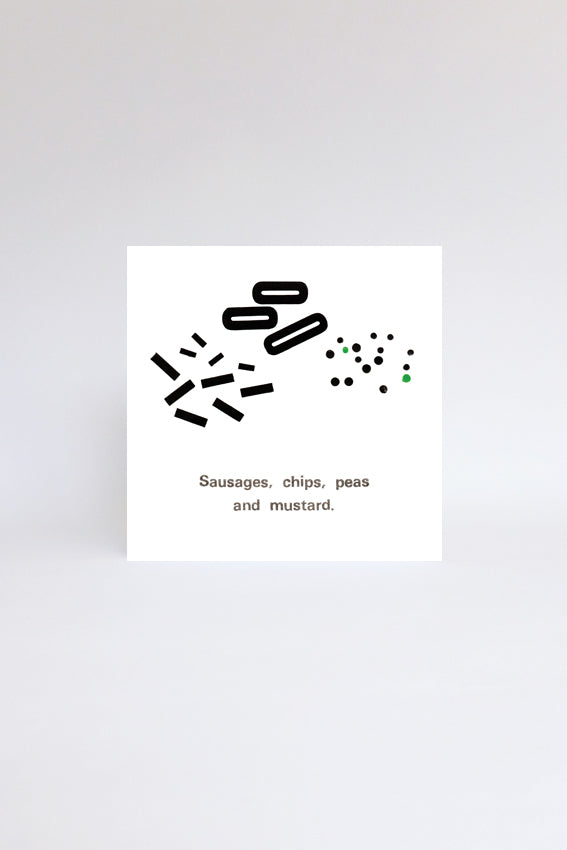 Sausages and chips, greetings card, black letterpress print