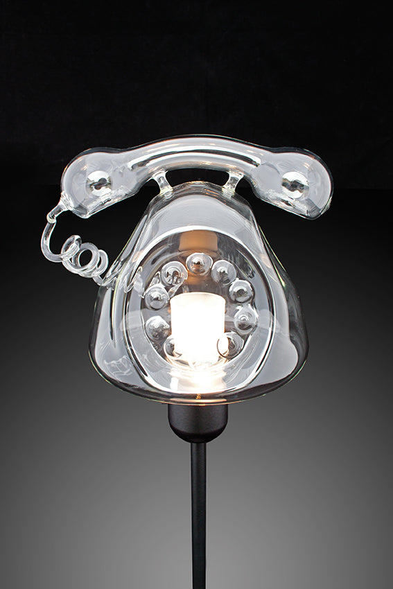 Telephone shape, table lamp, glass lampshade, black stem