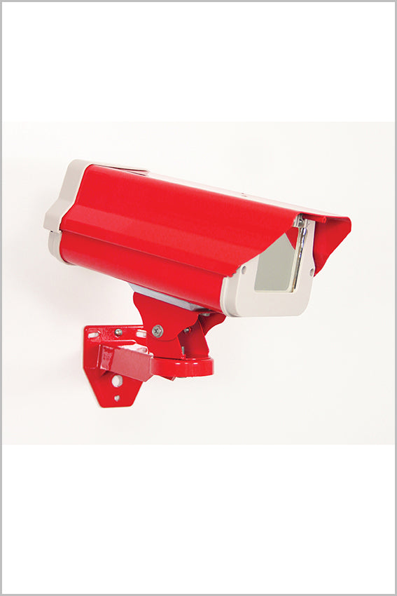 Decorative wall mirror, CCTV shape, red colour