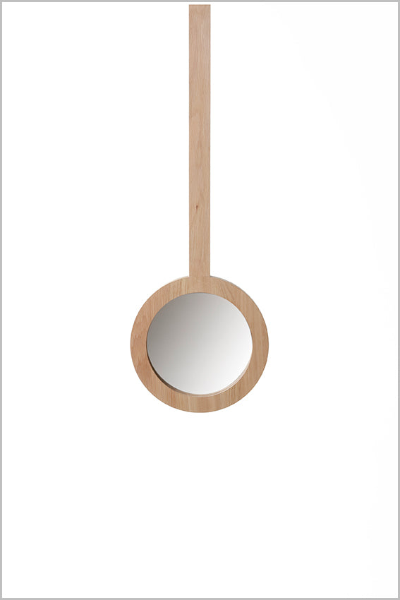 Decorative round wall mirror, oak, hanging stem, 265 dia.